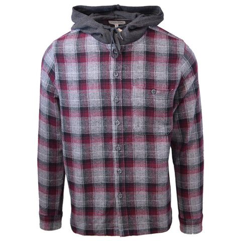 Cherokee Men's Tottus Camisa Maroon & Gray Plaid Hooded L/S Flannel Shirt