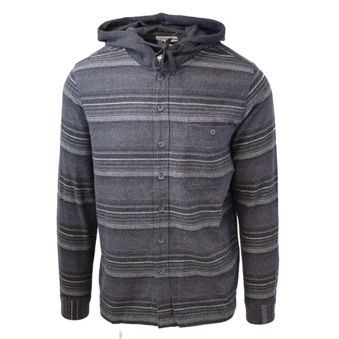 Cherokee Men's Tottus Camisa Charcoal & Cream Stripe Hooded L/S Flannel Shirt