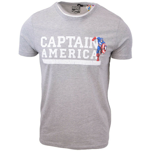 Marvel Comics Men's Captain America Grey S/S T-Shirt
