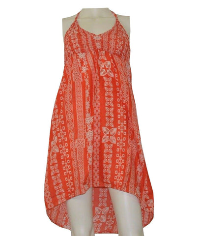 Lagaci Women's Red/Orange Printed Beach Cover Up Summer Dress