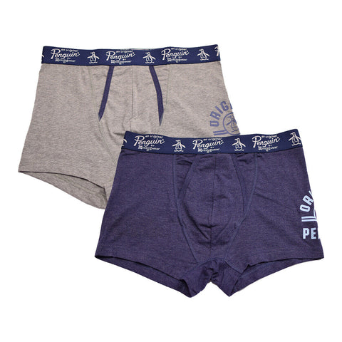 Original Penguin Men's 2 Pack Solid Navy Grey Trunks (S02)