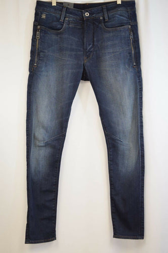 G-Star RAW Men's D-Staq Authentic Dark Aged Zip Slim Fit Jeans