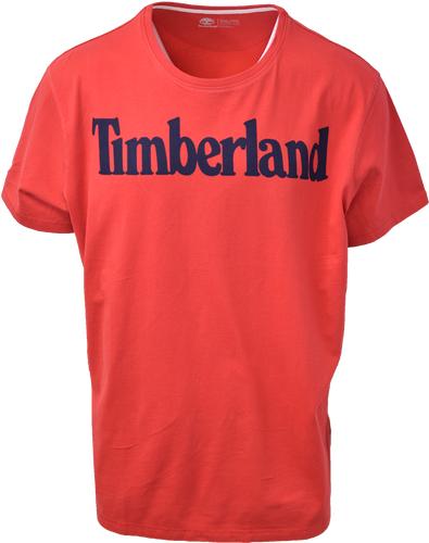 Timberland Men's Red Classic Logo Solid Text S/S Tee S14