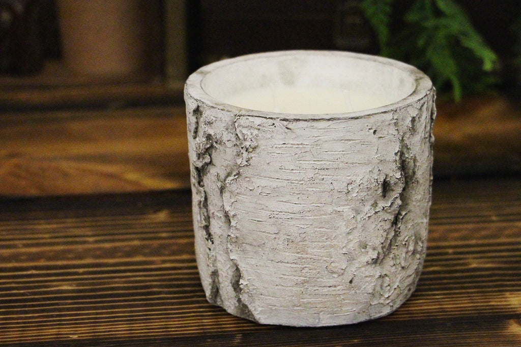 White Birch Cement Vase Candle