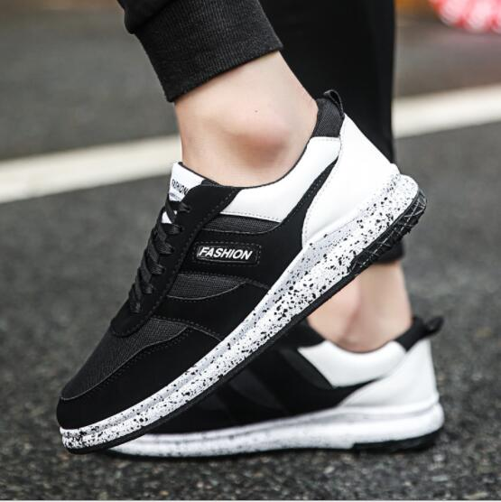 2017 Men Shoes Male Breathable Sports Shoes Wear Resistant Outdoor Running Shoes Shockproof Antiskid Shoes Black White