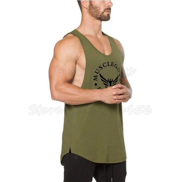 Muscleguys Brand clothing Bodybuilding Shirt Fitness Men Tank Top workout Cotton sportswear