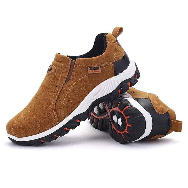 Outdoor Climbing Man Suede Shoes Hiking Anti-slip Sole Wear Resistant Travel Sports Shoes Jogging Sneakers Rubber Sole 39-47size