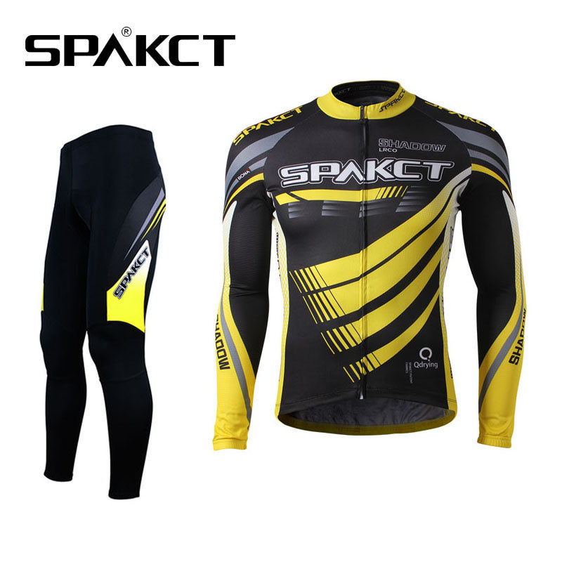 SPAKCT Outdoor Sports Cycling Bike Men's Long Sleeve&Pants Sets-Phantom Breathable Professional Bicycle Sportswear,Black-Yellow