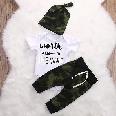 2018 Army Green Newborn Baby Girl Boy Clothes Romper T-Shirt Long Pants And Hat Outfits 3Pcs