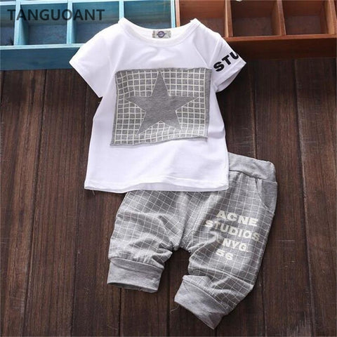 2018 Hot sale Baby boy clothes Brand summer kids clothes sets t-shirt+pants suit Star Printed Clothes newborn sport suits
