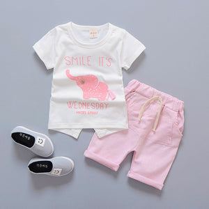 Baby Boy Clothes 2018 Summer Brand Infant Clothing Elephant Short Sleeved T-shirts Tops Striped Pants Kids Bebes Jogging Suits
