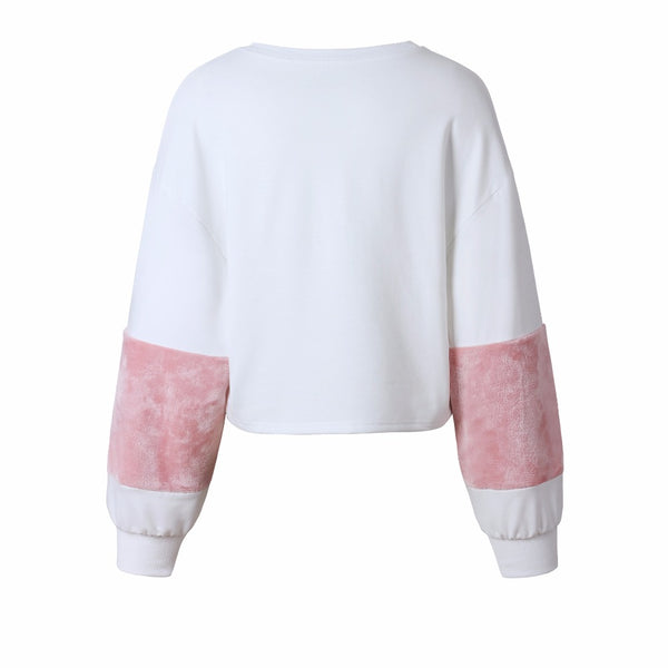 Casual O-Neck Puff Sleeve Cotton Pullover Sweatshirt