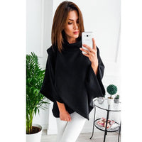 Asymmetrical Oversized Turtleneck Pullover Sweatshirt  (4 Colors)