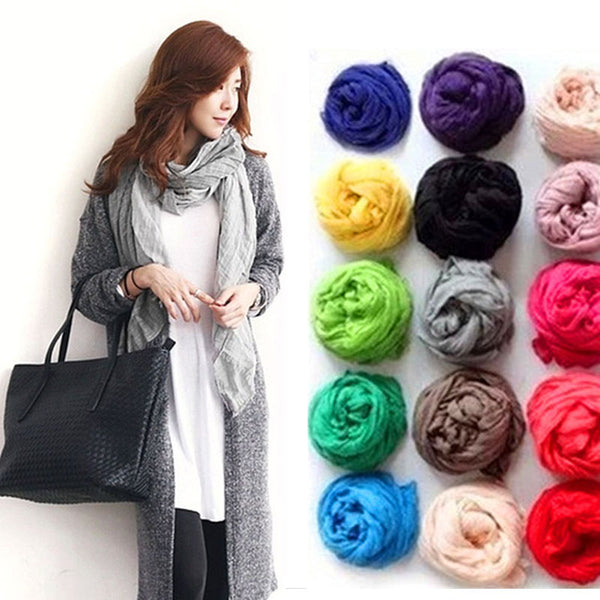 Solid Color Soft Cotton Long Scarf (Various)
