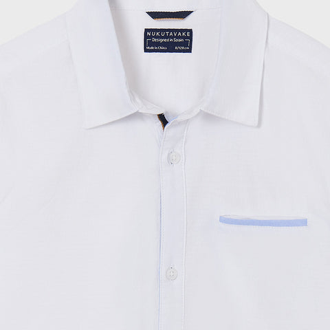 Nukutavake Boys White Contrast Dress Shirt