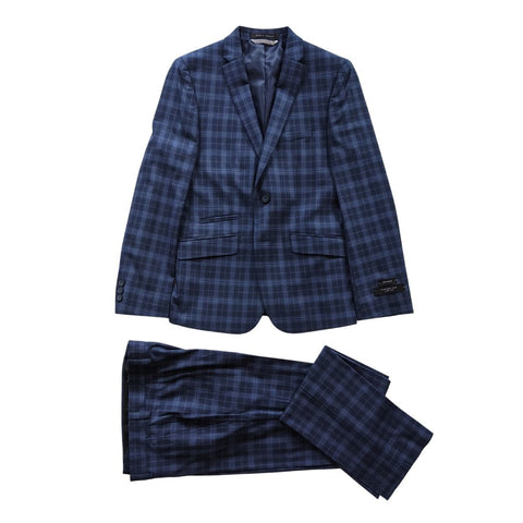 Marc New York Boys Skinny Dark Blue Plaid Suit W0481