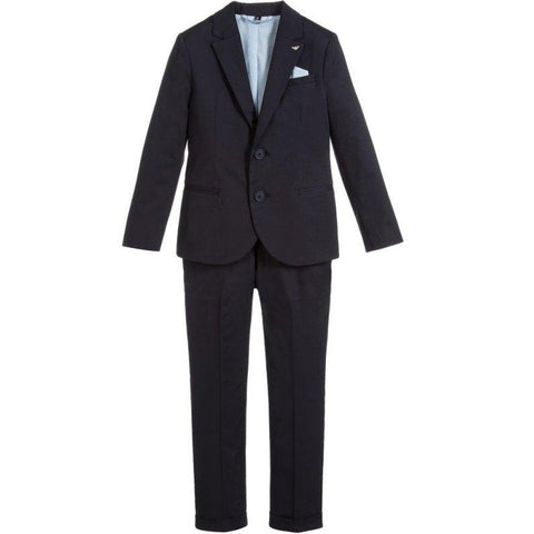 Armani Junior Cotton Navy or Pale Blue Suit 181 3Z4V01 Suits (Boys) Armani Junior
