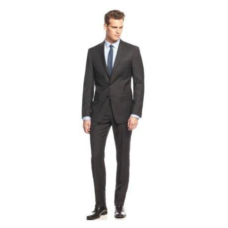 Calvin Klein Extreme Slim Mens Wool Black Suit 5FY0110 Suits (Boys) Calvin Klein Black 40S