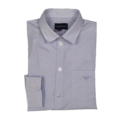 Emporio Armani Boys Printed Light Blue Dress Shirt 3H4C09-F118 Dress Shirts Emporio Armani