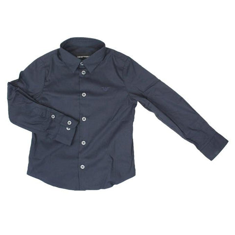 Emporio Armani Boys Solid Dress Shirt 8N4C09 Dress Shirts Emporio Armani Navy 10