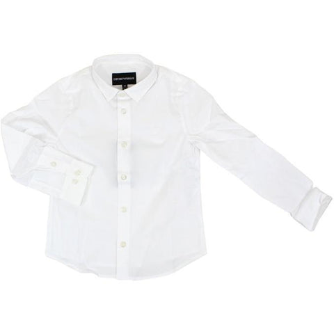 Emporio Armani Boys Solid Dress Shirt 8N4C09 Dress Shirts Emporio Armani White 8