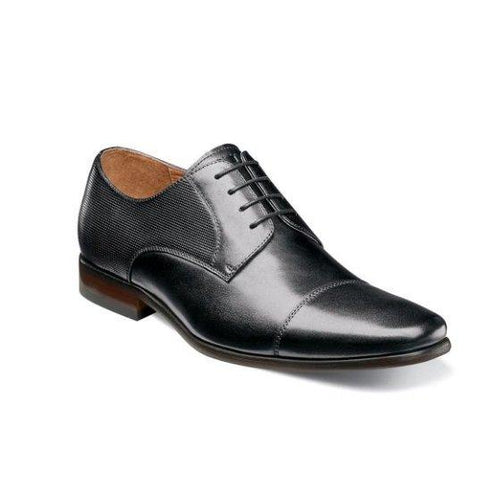 Florsheim Men's Shoe Postino Cognac or Black Cap Toe Oxford Footwear - Mens Florsheim Black 10D