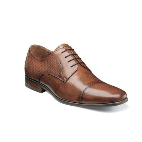 Florsheim Men's Shoe Postino Cognac or Black Cap Toe Oxford Footwear - Mens Florsheim Cognac 9.5D