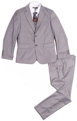 Geoffrey Beene 3 Piece Slim Fit Light Grey Suit Suits (Boys) Geoffrey Beene