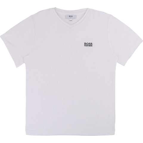 Hugo Boss Boys Basic Short Sleeves V Neck T-Shirt T-Shirts Hugo Boss White 4