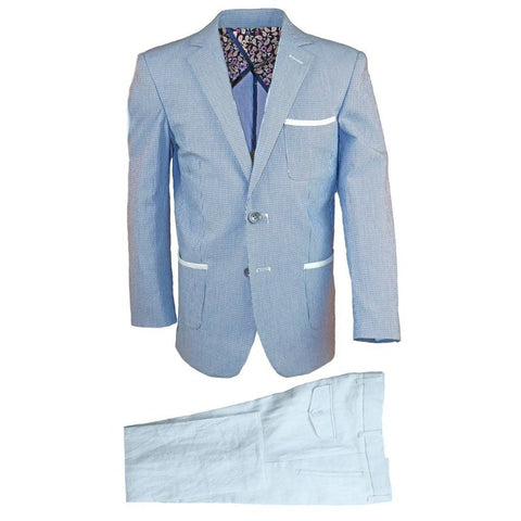 Isaac Mizrahi Boys Slim Linen Blazer and Pant 171 ST2089-N Suits (Boys) Isaac Mizrahi Blue 6