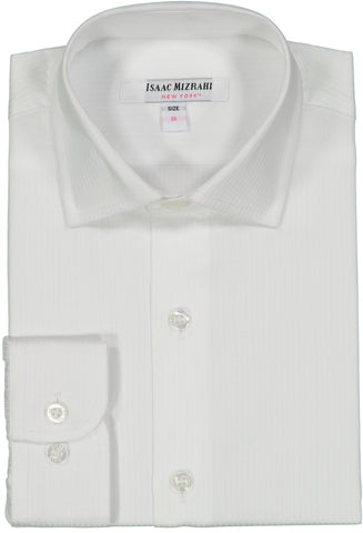 Isaac Mizrahi Boys Solid White Pin Striped Dress Shirt Dress Shirts Isaac Mizrahi