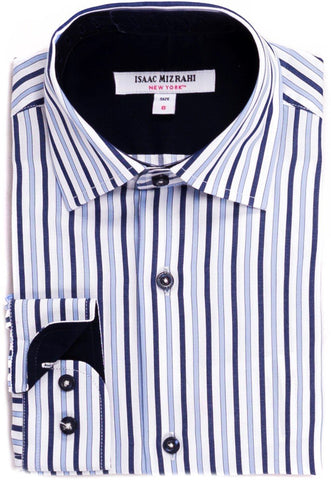 Isaac Mizrahi Boys White/Navy Striped Dress Shirt Dress Shirts Isaac Mizrahi