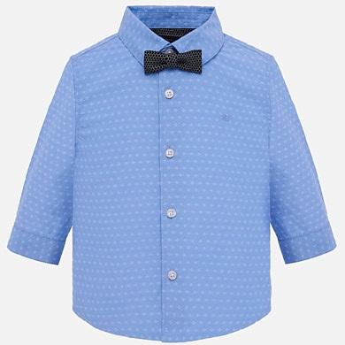 Mayoral Baby Long Sleeve White or Blue Dress Shirt with Bow Tie 1132-Mayoral-NorthBoys