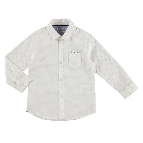 Mayoral Mini Long Sleeve Cotton Printed White Shirt 4.118 Dress Shirts Mayoral