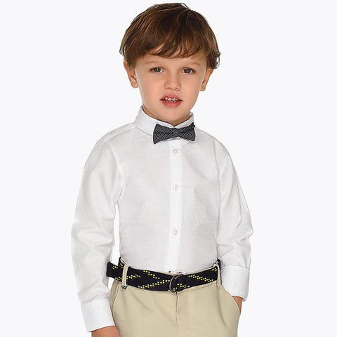 Mayroal Mini Long Sleeve White Shirt with Bow Tie 3139 Dress Shirts Mayoral