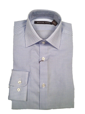 Michael Kors Boys Cotton Check Light Blue Shirt Dress Shirts Michael Kors