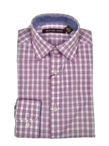 Michael Kors Boys Cotton Pink/White Check Dress Shirt Z0349 Dress Shirts Michael Kors