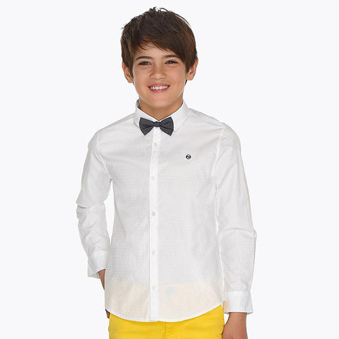 Nukutavake Long Sleeve Slim Fit White Shirt with Bow Tie 6131 Dress Shirts Mayoral