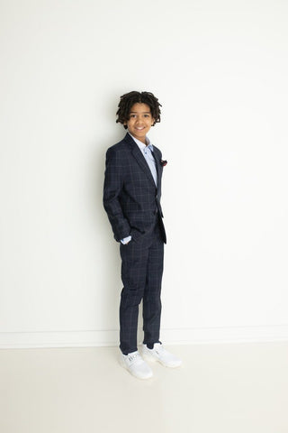 Paul Smith Jr Amadeus Slim Fit Navy Plaid Wool Suit Suits (Boys) Paul Smith Jr