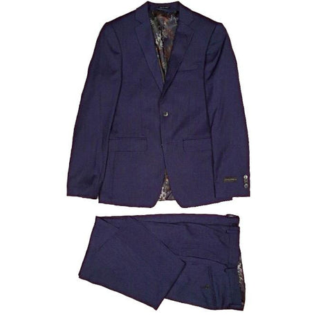 Sean John Mens Blue Textured Ultra-Slim Suit Z1663 Suits (Men) Sean John