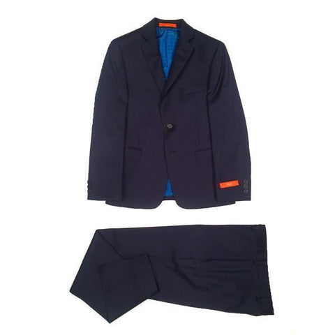 Tallia Boys Husky Twill Navy Blue Wool Suit WH471 Suits (Boys) Tallia