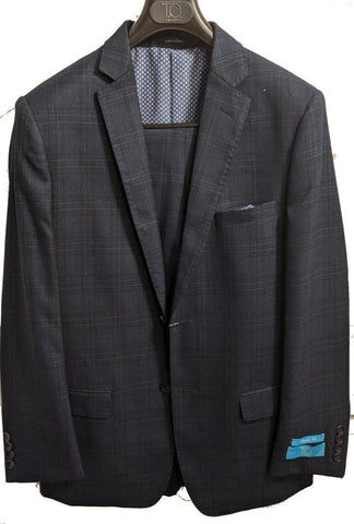 T.O. Collection Boys Classic Dark Blue Plaid Suit 3720-1C Suits (Boys) T.O. Collection