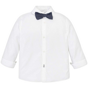 Mayoral Mini Long Sleeve White Shirt with Bow Tie 3139