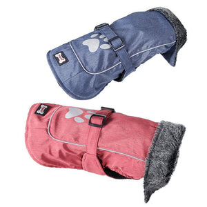 Waterproof & Reflective Dog Clothes Warm Fur Collar Vest Jacket