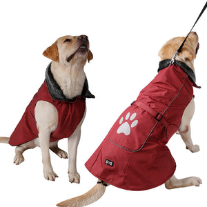 Waterproof & Reflective Dog Clothes Warm Fur Collar Vest Jacket - Dog Market Hub