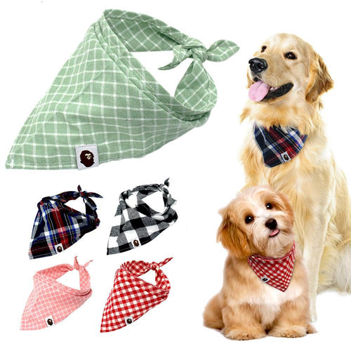 Dog Bandana Plaid Pet Scarf Bow ties Collar - Dog Market Hub