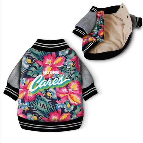 Flower Print Cotton Padded Warm Pet Jacket - Dog Market Hub