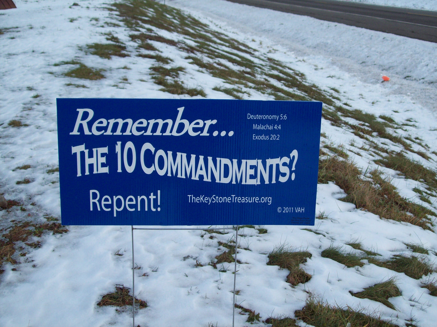 Repent!  Remember the 10 Commandments Lawn Sign