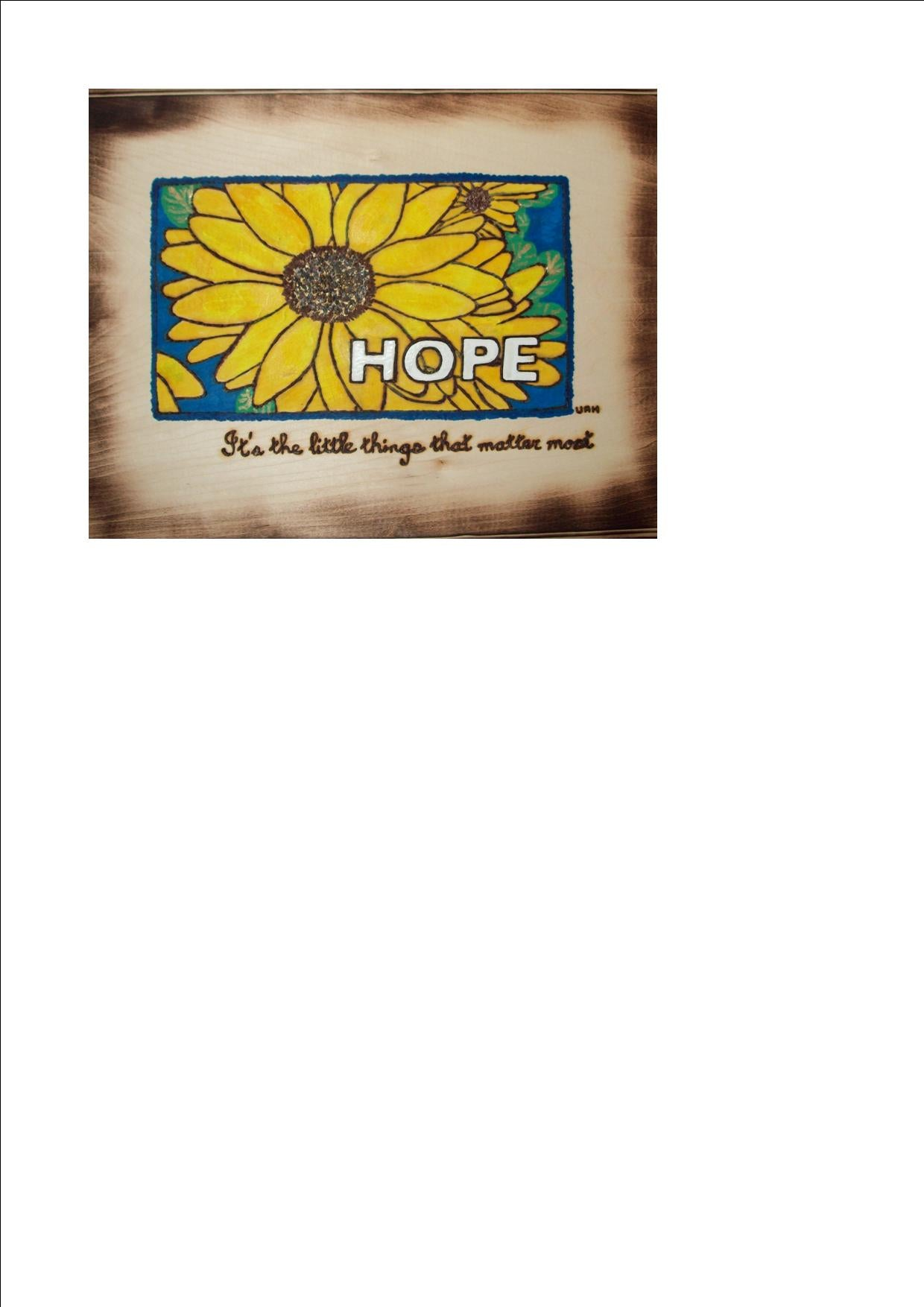 Hope Flower Woodburning Plaque