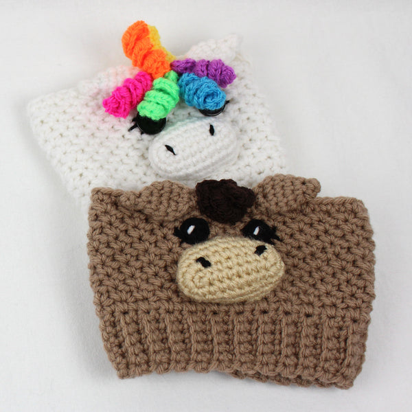 Sugar the Unicorn & Spice the Horse Boot Cuff Crochet Pattern
